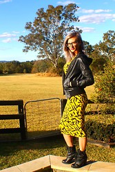 Emi B - Cream Leather Jacket, Asos Dress, Guess? Boots - Black & Yellow