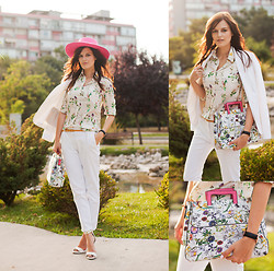 Viktoriya Sener - River Island Hat, Dresslink Shirt, Zara Blazer, Zara Pants, Mango Sandals, Bag - ALMOST WHITE
