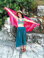 Jess A - Shop Jessthetics Crochet Top, Vintage Sheer Skirt, New Look Floppy Hat - Beach Rainbow
