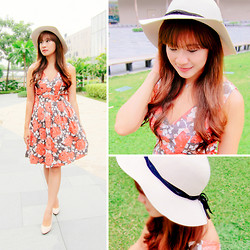 Jannelle O. - Forever 21 Floral Dress, Call It Spring Nude Wedge, Cotton On Floppy Hat - Picnic Day
