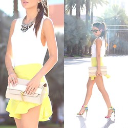 Macarena Ferreira - Milano Bags Clutch, Zara Skirt, Blush Boutique Tank, Nocturne Necklace, Carrera Sunglasses, Just Fab Heels - Sunny Side Up.