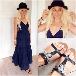 Radana Adachi - Rare Maxidresss, Zara Sandals, Vigny Fedora Hat - Just August