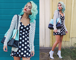 Alanna Durkovich - Style Moi Polka Dotted Dress, Nasty Gal Zina Boots - Darling and Dotty