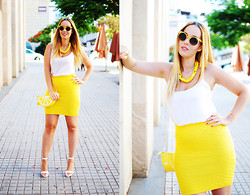 Nery Hdez - Zerouv Sunglasses, Oasap Skirt, Jollychic Bag, Vessos Sandals - Lemon Crash