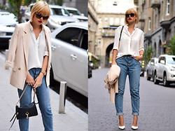 Anastasia U. - Chic Wish Blazer, Rag & Bone Boyfriend Jeans, &Other Stories Silk Blouse, Jeffrey Campbell Pumps - Workwear Edit