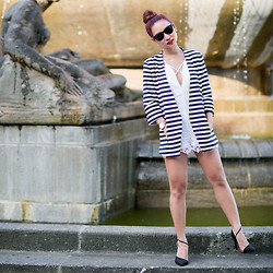 Minh Nguyen - Nasty Gal Playsuit, Zara Blazer, Amiclubwear Heels, Ray Ban Sunglasses - Lace and stripes