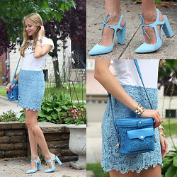 Natalie A - Forever 21 Finest Hour Lace Skirt, White Tshirt, Rebecca Minkoff Collin Camera Bag, Zara Blue Suede Shoes, Macy's Watch - Blue Lace