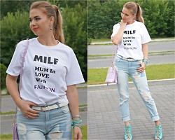 Federova Kik - Hicustom T Shirt Custom Made, 6ks Jeans, Oasap Bag, Amiclubwear Shoes - Mother In Love with Fashion