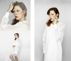 Jesuswannatouchme . - White Dress With Mesh Sleeves, Cheap Monday Metal Jewelry, White Clutch Bag - WHITE // jesuswannatouchme.