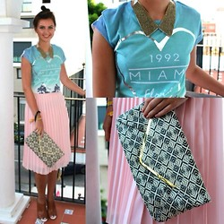 Jodie Barry - Primark Pleated Skirt, Primark Envelope Clutch, French Connection Uk Mules, River Island T Shirt, Cos Collar Necklace - 60's chic