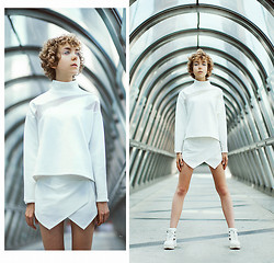 Sofia R - Zara White Futurist Top, Skort, Shellys London Cut Out Boots - Aseptic White