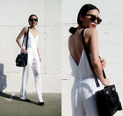 Visa Lom - Sheinside Spaghetti Strap Backless Loose Jumpsuit, Lamoda Azra Black Bag - White Jumpsuit