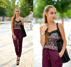 Markéta Bártová - Zara Shopper Bag, Pull & Bear Lace Floral Dress, Stradivarius Burgundy Baggy Pants - Floral