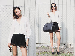 Miu N - Second Femme Shirt, Prada Bag, Zara Heels, Prada Sunglasses - Miuccia Wears Prada