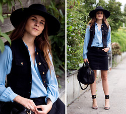 Michèle Krüsi - Street One Denim Vest, Street One Skirt, Alxander Wang Bag, Maison Michel Hat, Gucci Shoes, Maje Blouse - BOHO FEELINGS – GIVEAWAY ON THE BLOG