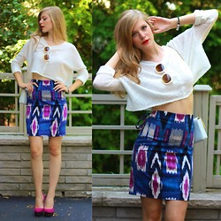 Sydney Hoffman - Pink Martini Collection, Sabo Skirt, Talbots - White Crop Top