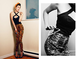 Courtney Reader - Deadly Dames Voodoo Vixen Top, Deadly Dames Cigarette Pants In Tiger, Payless Black Patent Kitten Heels, Vintage Hairscarves - Bad Mojo