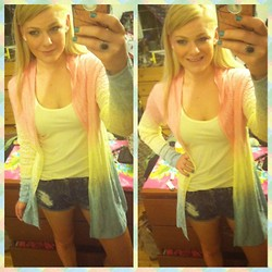 Ashley Renee - Olivia Sky Pastel Ombré Sweater, Forever 21 High Waisted Acid Wash Denim Shorts, Yellow Tank - Pastel Ombré