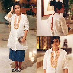 Surbhi Suri - Fab India Shirt Dress, Fab India Midi Skirt, Platinum Mall , Bangkok Houndstooth Slip Ons, Indian Jewellery, Louis Vuitton Monogram Clutch - Indian Jewels