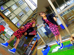 Agata Nika - Primark Bomber Jacket, Blue Metallic Shoes, Printed Dress, H&M Earrings, Primark Nerd Glasses - Playin' in the backyard