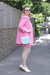 Jaclyn - Warehouse Sunglasses, Zara Pink Coat, Zatchels Pastel Bag, Zara Pink Skirt, Topshop Loafers - Pink Co-ord