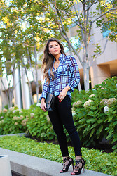 Pam Hetlinger - Express Shirt, Joe's Jeans, Brian Atwood Shoes - Summer Plaid