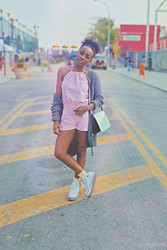 Nkenge Brown - Sharon E Clarke, Converse Platform Sneaks, Zara Iridescent Bag, Target Oversized Sweater, Uniqlo Pastel Yellow Socks - Blush & Grey