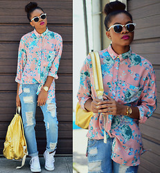 Alicia Nicholls - Missguided Lydda Boyfriend Shirt In Floral Print, Missguided Dylan Ripped Boyfriend Jeans, Missguided Wakanara Heavyweight Chain Necklace, Converse Chuck Taylor Classic, American Apparel Lame Denim School Bag, Urban Outfitters Skylar Sunglasses - Back to School with Missguided//Look 1