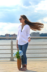 Ashley - Marc By Jacobs Metal Aviator Sunglasses, Anthropologie Colorsplit Popover, Dl1961 Grace High Rise Straight Jeans, Duccio Venturi Suede Lace Up Sandals, Cole Haan Village Flat Tote (Camello), Alex & Ani Birthstone Expandable Wire Bangle, Ariella Collection Eternity Band Ring - Summer Casual
