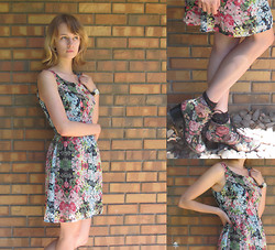 Sophie G - Speckles Thrifted Dress, Dsw Floral Heels - Floral Finds