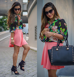 Stephany G. - Love Shopping Miami Floral Blouse, Love Shopping Miami Black Studded Satchel, Love Shopping Miami Cat Eye Sunglasses - Coral and Floral