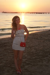 Aleksandra B. - Bershka Dress, Red Bag, Floral Red Sandals, Diva Coral Jewelry - ANAPA