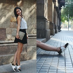Milagros Plaza - Twist & Tango Tank Top, Pieces Clutch, H&M Black Skater Skirt, Emma Go Metallic Crop Lace Up Flatforms - RILEY