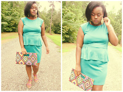 Yakelle D - Rainbows Teal Peplum Dress, Tribal Clutch - Teal & Clutch