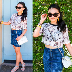 BLESSIE - H&M Cropped Printed Sheer Top, Rebecca Minkoff Studded Bag, American Eagle Denim Pencil Skirt, Vince Camuto Beaded Sandals - INTO THE GARDEN