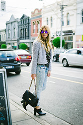 Jess Dempsey - One Seven Jacket, Zara Jeans, Lavish Alice Top, The Mode Collective Ankle Boots, Chanel Bag, Arnette Sunglasses - Street Style
