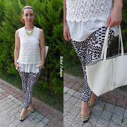 Rebel Takipte - Tb Dress Lace Top, Yesfor Black And White Pants - Neon Details