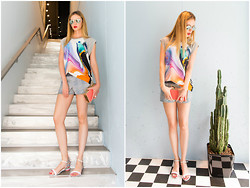 Anastasiia Masiutkina - Josh Goot T Shirt, Roseanna Shorts, Sara Battaglia Bag, Sheriff&Cherry Glasses, Sophia Webster Shoes - Colorful summer time!)
