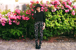Stephanie - Forever 21 Fedora, Kimchi Blue Knit Cropped Sweater, Kimchi Blue Floral Trousers, Pacsun Cutout Boots - Spring Flora
