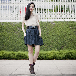 Ren Rong - Jeffrey Campbell Heeled Boots, M)Phosis Pocket Skirt, Forever 21 Chiffon Blouse - 1 Day Magic