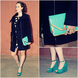 Jemma Richmond - Cotton On Turquoise Wedges, Sowearto Turquoise Clutch, Woolworths Rsa Chunky Black Coat, Silver And Black Ring - New Coat
