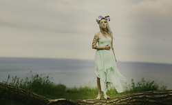 Naomi MacKeown - Ecoté Mint Chiffon Dress, Stephanie Battieste Designs One Of A Kind Flower Crown - Neverland