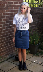 Sophie Bee - Cow Vintage (Nottingham) Denim Skirt, Maximo Park Tshirt, Dr. Martens Purple Dr - Vintage denim skirt