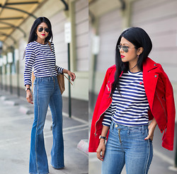 Sheryl L - Flare Jeans, Stripe Sweater - FLARE IS THE NEW SKINNY