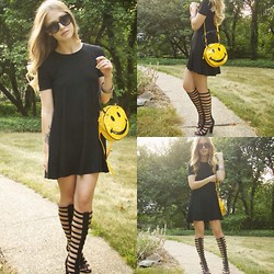 Julia Weber - Zara Dress, Michael Antonio Heels, Forever 21 Sunglasses, Forever 21 Bangles - Smiley Face