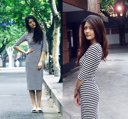 Lina Lee - Zara Maxi Dress, Chanel Shoes - Stripe Manifest