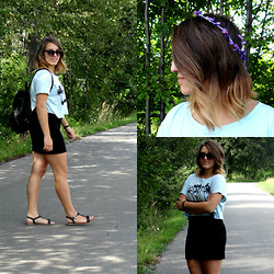 Weronika S. - No Name Black Leather Bag, H&M Black Mini Skirt, H&M Blue Short Top, Ale Hop Hair Band - This Is How We Do