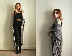 Sofia Starstrukk - Carlings Top, Lee Jeans, Carlings Long Cardigan, Ebay High Heels - Trassel