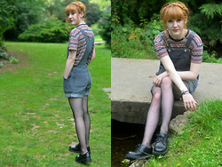 Ellie H - American Apparel Dungarees, Urban Outfitters Tee, New Look Tights, H&M Shoes - Ambivalent