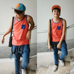 Rex Dela Cruz - Koutake Snapback, Bizaare Blue And Orange Tanktop - FAKE YOU!